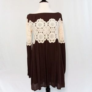 Judith March Brown Tunic Dress with Floral Lace S